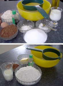 Ingredients for making a rich and dark chocolate cake