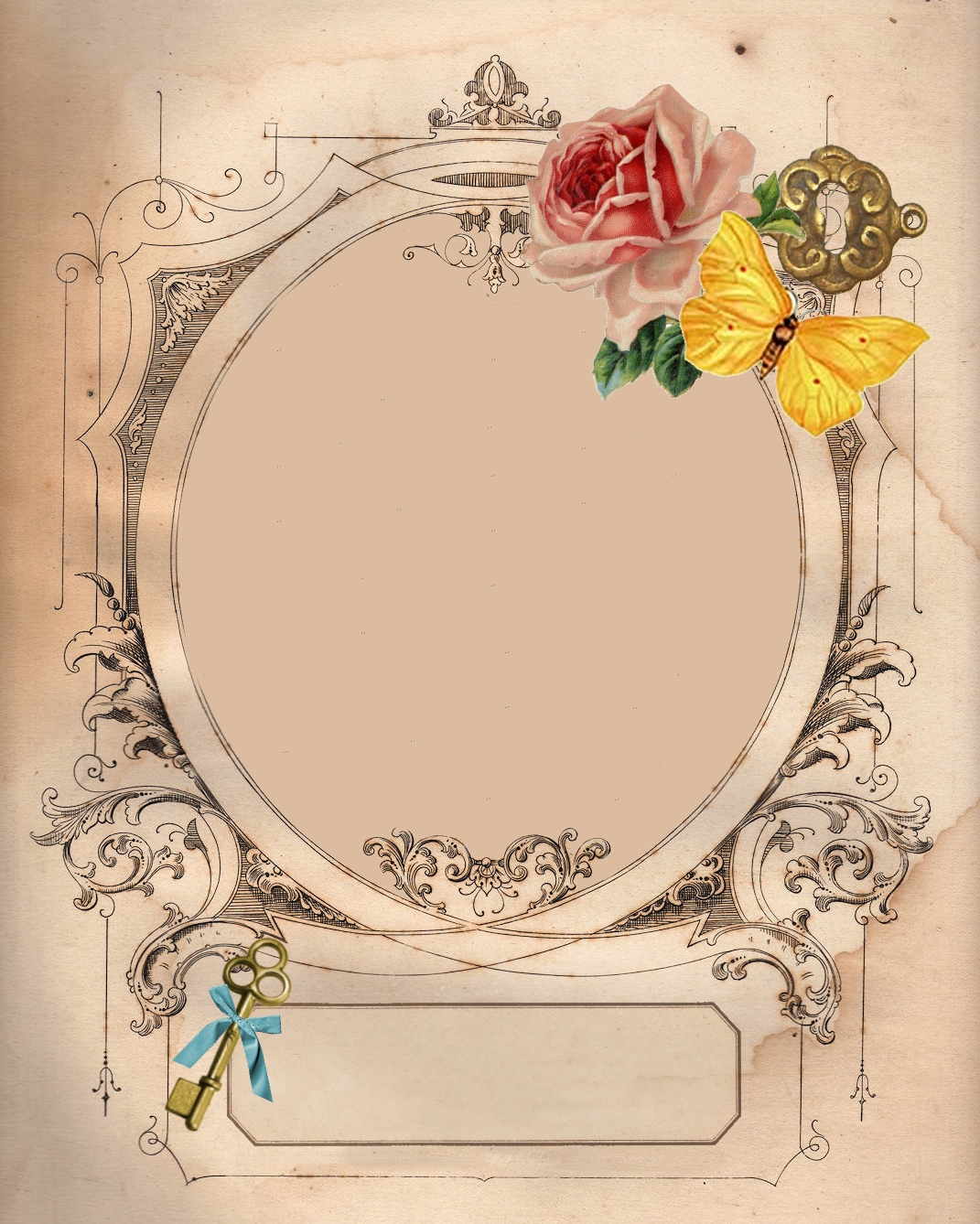 Vintage frame digital scrapbook freebie