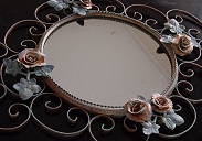 How to revamp an old wrought iron mirror - attach roses