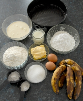 ingredients for making banana cake